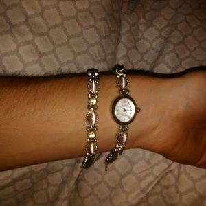 Vanity Fair watch bracelet set rose quartz silver